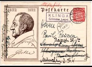 DR 1932, KLINGA Grimma Land, Landpost Stpl. auf Ganzsache i.d. Schweiz u. retour
