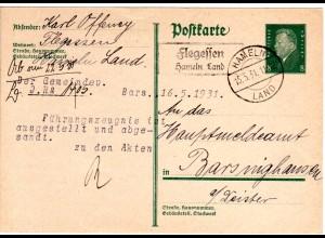 DR 1931, FLEGESSEN Hameln Land, Landpost Stpl. auf 8 Pf. Ganzsache