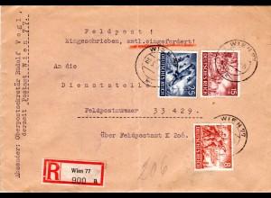 Feldpost WK II 1943, 3 Marken auf Reko FP-Brief an FP Nr. 33429 üb. FPAmt K 206