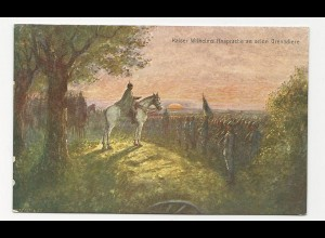 Feldpost WK I, Rotes Kreuz Farb AK Ansprache Kaiser Wilhelm. #411