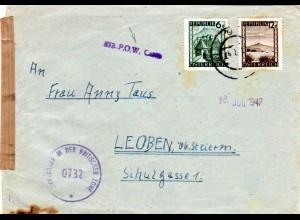 Österreich 1947, 6+12 G. auf KGF POW Zensur Brief v. Wolfsberg Kärnten n. Leoben