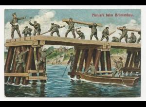 Feldpost WK I, gebr. farb AK Pioniere beim Brückenbau. #1075