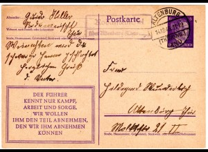 DR 1943, RODAMEUSCHEL über Altenburg (Thüringen), Landpost Stpl. auf Ganzsache