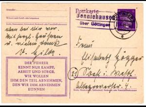 DR 1944, BENNIEHAUSEN über Göttingen, Landpost Stpl. auf Ganzsache