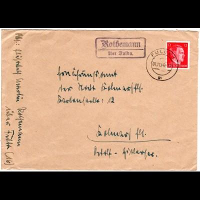 DR 1944, ROTHEMANN über Fulda, Landpost Stpl. auf Brief m. 12 Pf.
