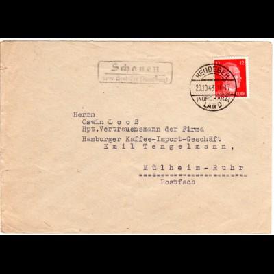 DR 1943, SCHAUEN über Heudeber (Nordharz), Landpost Stpl. auf Brief m. 12 Pf.
