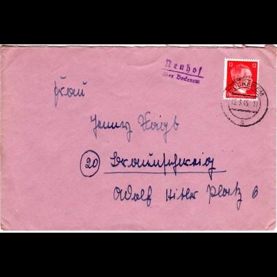 DR 1945, NEUHOF über Bockenem, Landpost Stpl. auf spätem WK II-Brief m. 12 Pf.