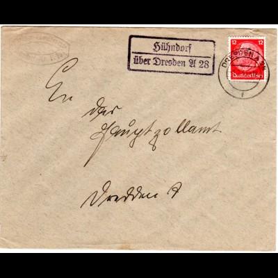 DR 1940, HÜHNDORF über Dresden A28, Landpost Stpl. auf Brief m. 12 Pf.