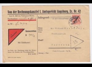 DR 1930, Augsburg, Nachnahme Brief m. EF 50 Pf. Dienstmarke n. Bayreuth. #759