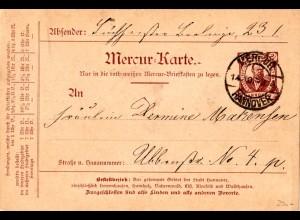 Private Stadtpost Hannover 1898, gebr. 2 1/2 Pf. Mercur Ganzsachenkarte