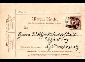 Private Stadtpost Hannover 1900, gebrauchte 2 1/2 Pf. Mercur Ganzsachenkarte