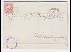 Bayern 1872, HKS Uffenheim auf Brief m. 3 Kr. Rücks. klarer HKS Miltenberg #1988