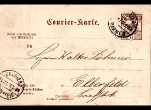 Private Stadtpost Barmen Elberfeld 1896, gebr. 3 Pf. Courier Ganzsachenkarte