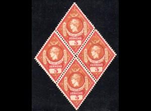 Bochum, gez. 5 Pf. Merkur Ausgabe 1887, ungebr. 4er-Block
