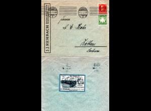 Bayern 1920, 5+15 Pf. auf Firmenbrief m. rs. Vignette J.J. Rehbach v. Regensburg