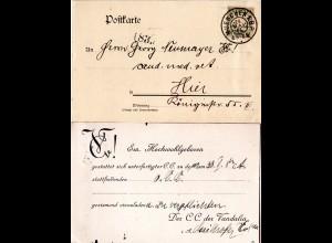 Bayern 1906, 2 Pf. auf Studentica Ortskarte der VANDALIA Verbindung