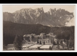 Italien, Carezza al Lago, Grand Hotel m. Tennis Plätzen, gebr. sw-AK. #1369