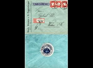 Bayern 1909, 3er-Streifen 10 Pf. auf Firmen Reko Brief v. Hof m. rs. Vignette