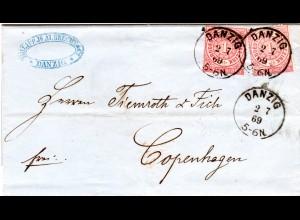 NDP 1869, 2x1 Gr. auf Brief v. DANZIG n. Dänemark