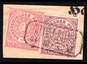 NDP 1/4+1 Gr. auf Briefstück m. nachverwendetem Sachsen R3 STOLLBERG B. Chemnitz