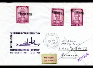 Indien 1965, 3 Marken auf Djibouti PAQUEBOT Expeditions Schiffs Brief