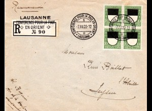 Schweiz 1922, Conference Pour LKa Paix En Orient Lausanne, Reko Brief m. 4x10 C.