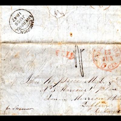 US 1847, transatlantic letter from Poquetonock, Connecticut via NY to Ireland.