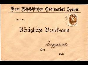 Bayern 1920, 40 Pf. Dienst Abschied auf Brief d. Bischöfl. Ordinariats SPEYER