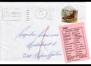 Island 1988, ENDURSENT-Rertour Zettel auf Brief m. 13 Kr. Eule v. Reykjavik