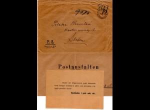 Schweden 1918, portofreier Postsache Umschlag v. Stockholm m. ungebr. Rückbrief