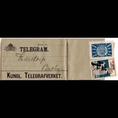 Schweden 1914, kpl. Telegramm m. Verschluss-Marke ab Kristianstad