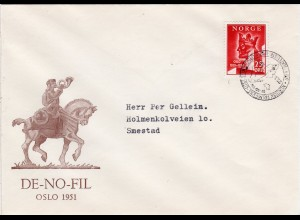 Norwegen 1951, Nordisk Frimerke Utsilling Oslo, Brief m. Ersttag Sonderstempel