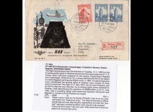 Dänemark 1955, Reko Erstflug Brief Etappe Kopenhagen-Bagdad Iraq. RR!