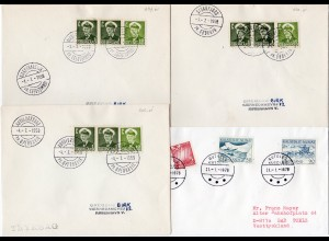 Grönland, 4 Briefe m. Stempeln v. kl. Postanstalten