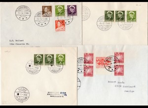 Grönland, 4 Briefe m. Stempeln v. kleineren Postanstalten