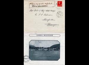 Norwegen 1935, 20 öre auf Bilderbrief v. SAND I RYFYLKE n. Stavanger