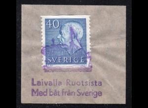 Schweden 40 öre auf Briefstück m. blauem Finnland Schiffspost Stempel m. Dampfer