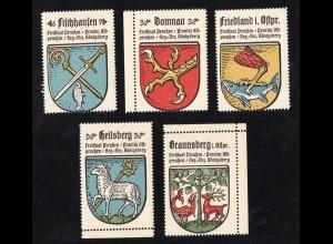 Wappen Braunsberg, Domnau, Fischhausen, Heilsberg..., 5 Ostpreussen Sammelmarken