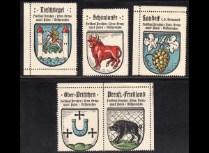 Wappen Friedland, Landeck, Pritschen, Schönlanke.., 5 Westpreussen Sammelmarken