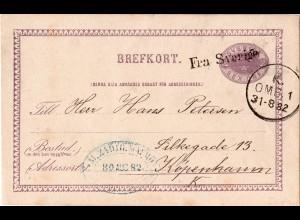 Schweden 1882, Schiffspost-L1 Fra Sverige aug 6 öre Ganzsache v. Malmö n. DK