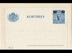 Schweden PK I, ungebr. 10/20 öre Kartenbrief Ganzsache m. Bank Zudruck