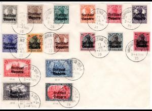 Bayern 1920, kpl. gest. Ausgabe Germania Freistaat auf. gr. Briefteil. Geprüft