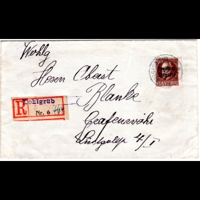Bayern 1919, EF 50 Pf. auf Brief m. eingest. Reko-Zettel v. KOHLGRUB. Geprüft