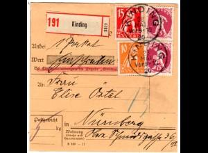 Bayern 1920, 10+15+Paar 75 Pf. Abschied auf Wert Paketkarte v. KINDING. Geprüft
