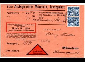 Bayern 1920, Paar 20 Pf. Dienst auf Nachnahme Brief m. K2 MÜNCHEN JUSTIZPALAST.