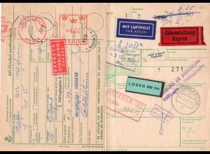 BRD 1972, Luftpost Eilboten Paketkarte v. Stuttgart m. Schweden Porto-Formular