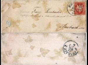Bayern 1894, 10 Pf. auf Zierbrief m. Farnen u. Efeu v. München I n. Ansbach.