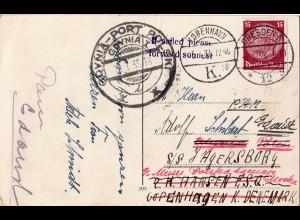 DR 1935, 15 Pf. auf Nachsende AK v. Dresden über Gdynia-Port nach Dänemark