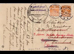 Dänemark 1934, 2x 10 öre auf Nachsende AK v. Hilleröd n. Kopenhagen u. Gdynia