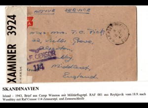 Island 1943, RAF PO 001 auf YMCA Brief v. Camp Winston m. Zensuren n. GB
